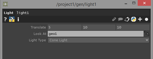 Shown are the non default parameters for the Light Component.